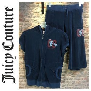 💸Juicy Couture navy terry Capri two piece outfit